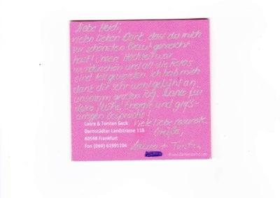 Danksagung, rosarote Grüße von Braut Laura / Heidi Debbah Visagistin & Maskenbildnerin